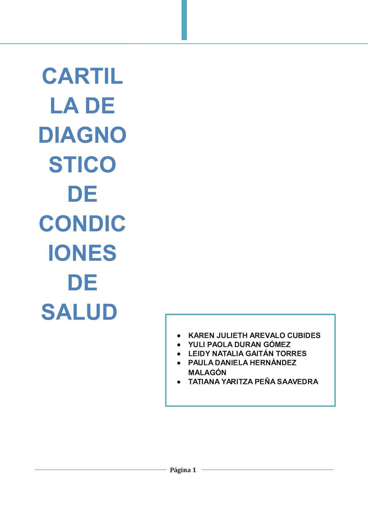 Cartilla De Metodos De Diagnostico De Condiciones De Salud