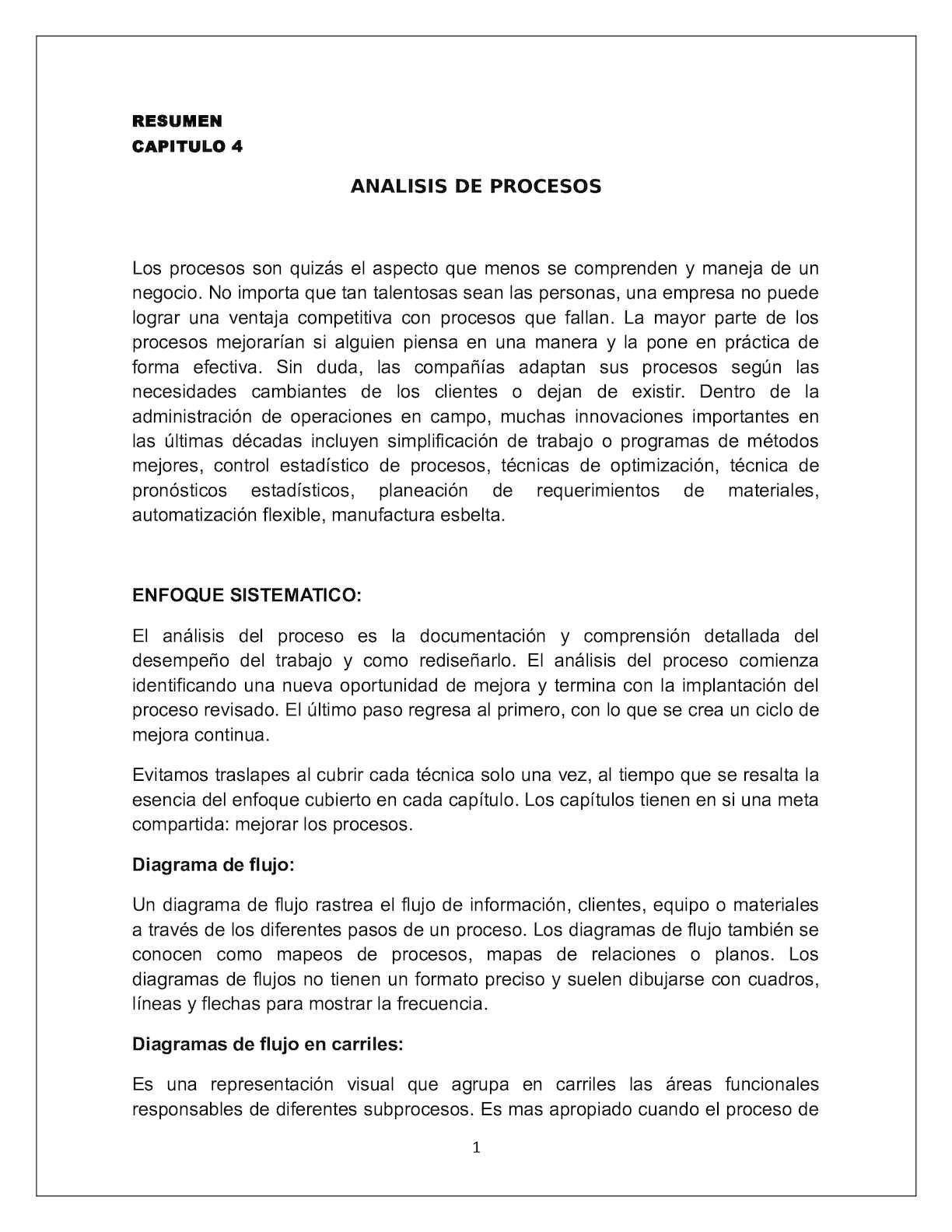 Calaméo - Resumen Capitulo 4 ANALISIS DE PROCESOS