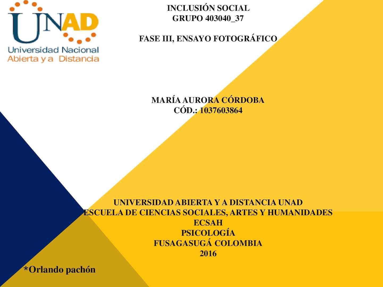 Ensayo Forográfico Inclusión Social María Córdoba