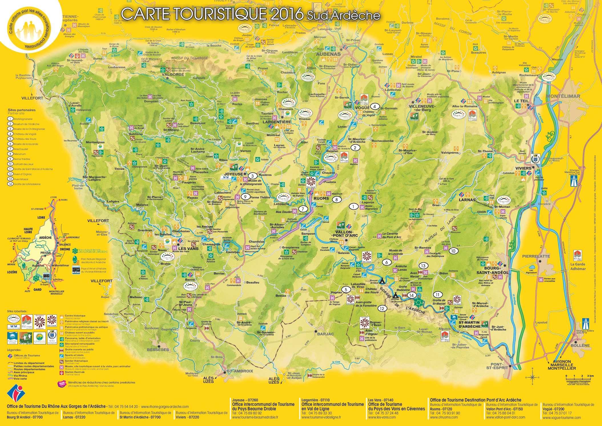 Calam o carte sud ard che 2016 - Office du tourisme ardeche nord ...