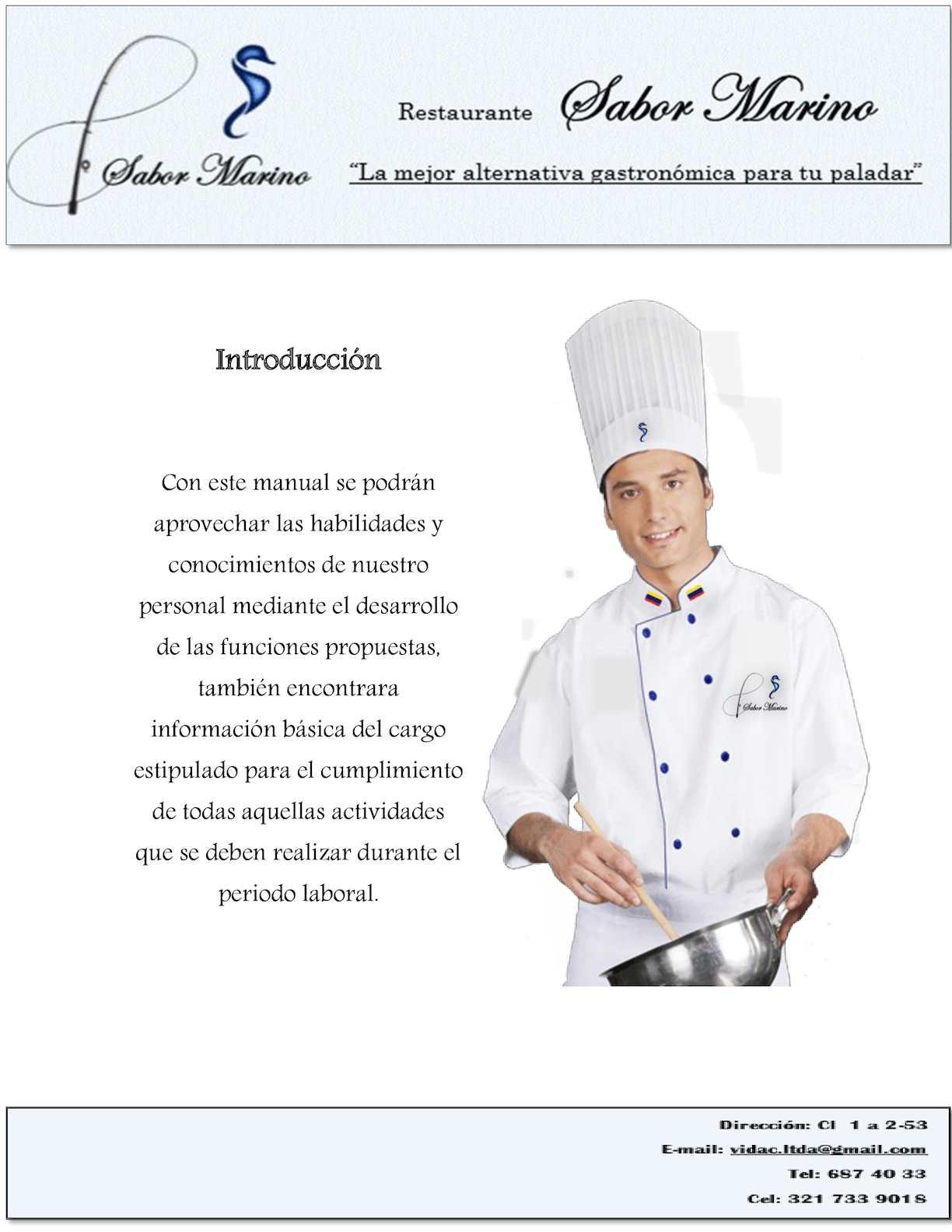 Calam o manual de funciones chef completo for Manual de funciones de un restaurante pdf