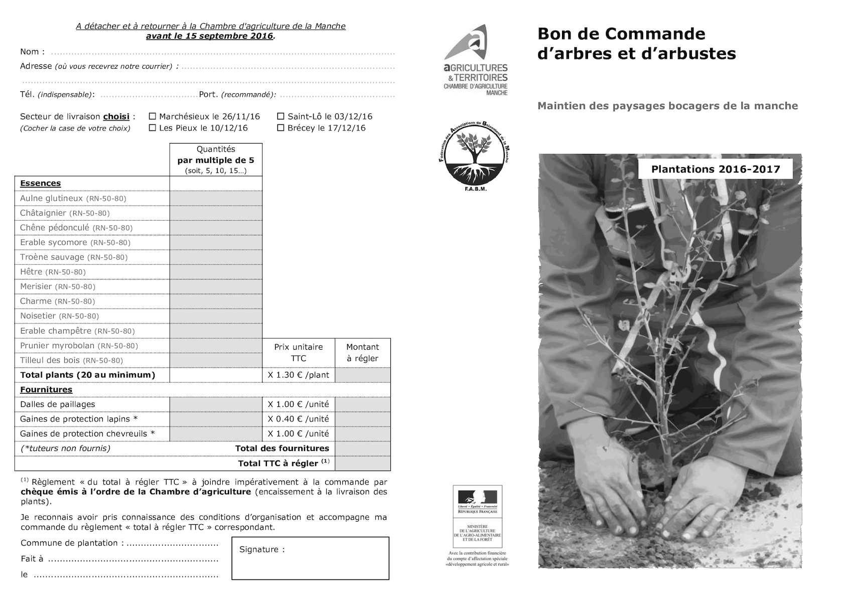 Calam o bon commande arbres et arbustes 2016 for Chambre agriculture manche