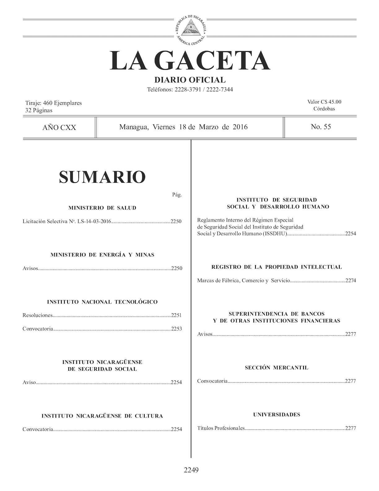 Gaceta No 55 Viernes 18 De Marzo De 2016