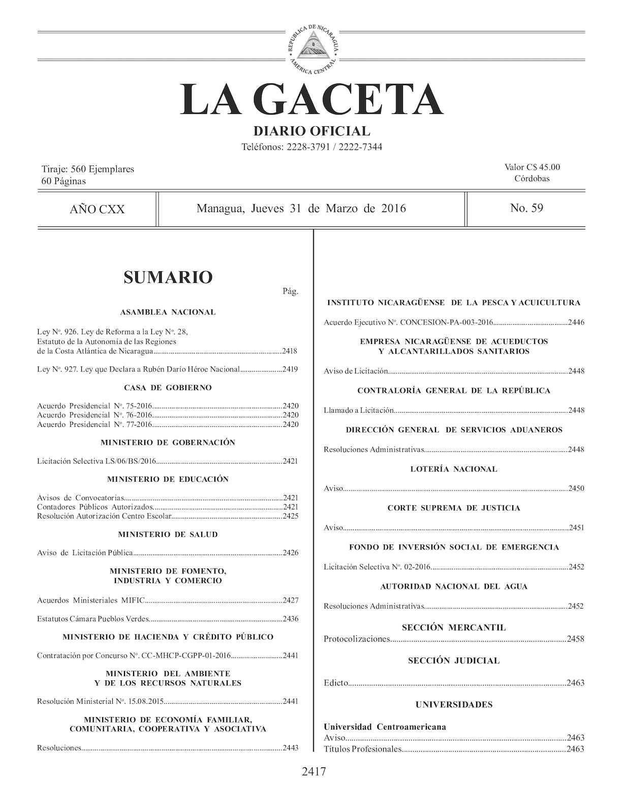 Gaceta No 59 Jueves 31 De Marzo De 2016