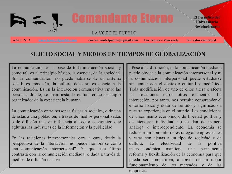Comandante Eterno Periodico Digital 3 Sujeto Social Y Medios En Tiempos De Globalizacion