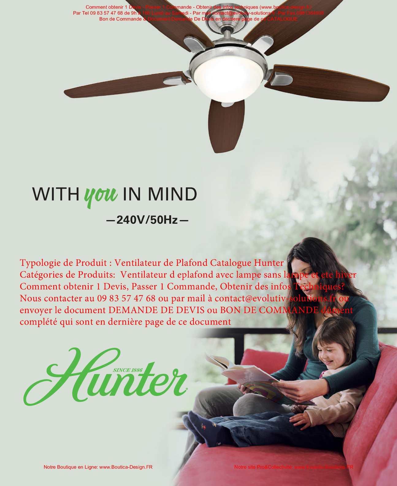 calam o hunter ventilateur de plafond catalogue 2016. Black Bedroom Furniture Sets. Home Design Ideas