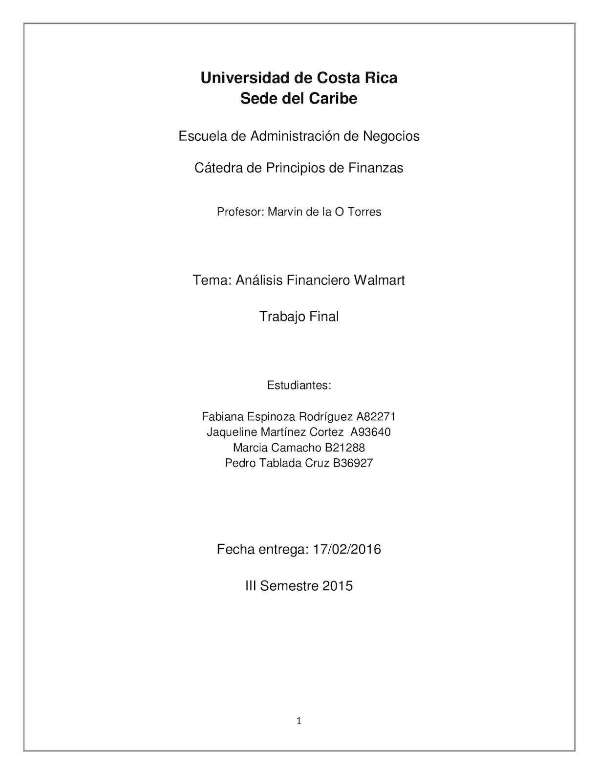 Calaméo - Análisis Financiero Walmart Stores
