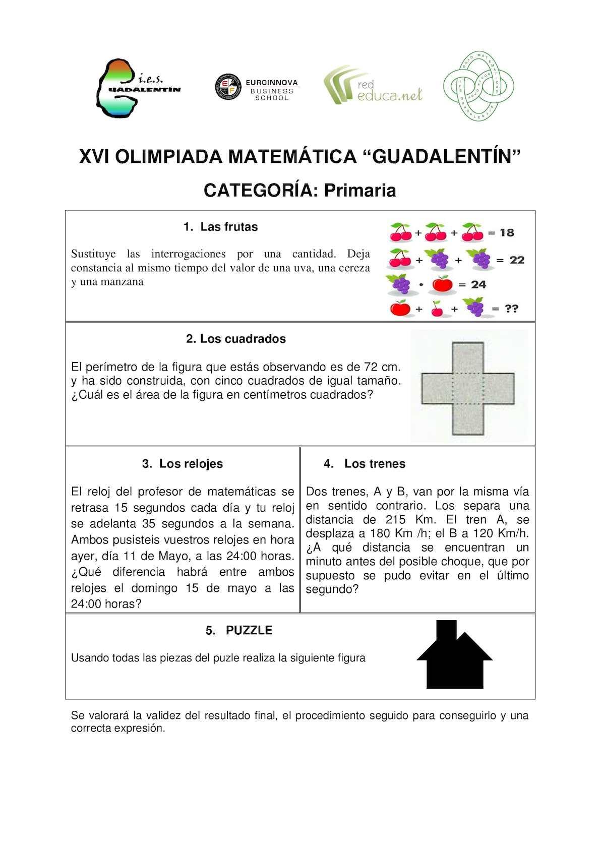 Pruebas  y soluciones XVI Olimpiada Guadalentín