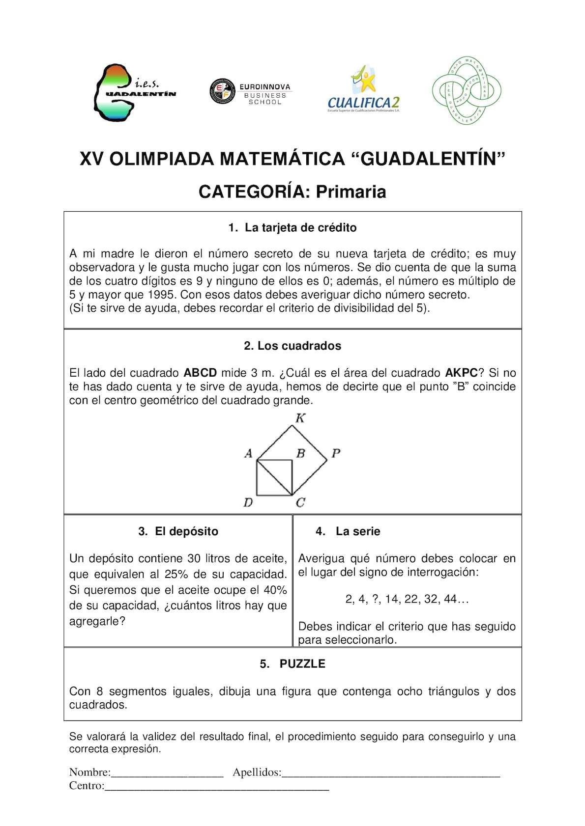 Pruebas  y soluciones XV Olimpiada Guadalentín