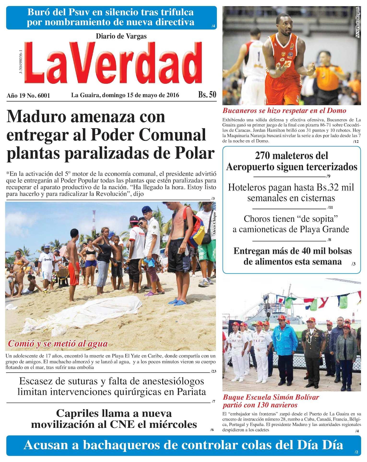 Calaméo - La Guaira, domingo 15 de mayo de 2016 Año 19 Noº 6001