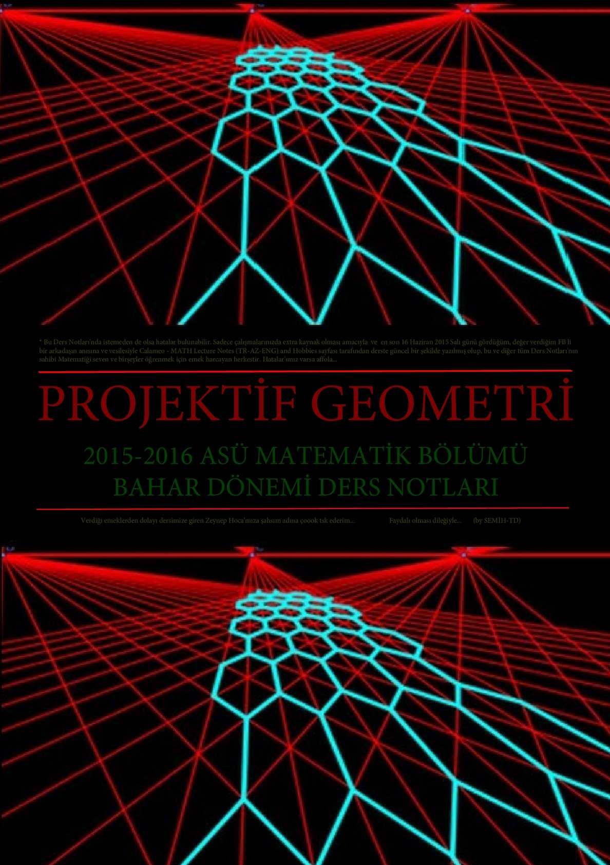 Projektif Geometri  - ASÜ Ders Notları (2015-2016 Bahar Dönemi)