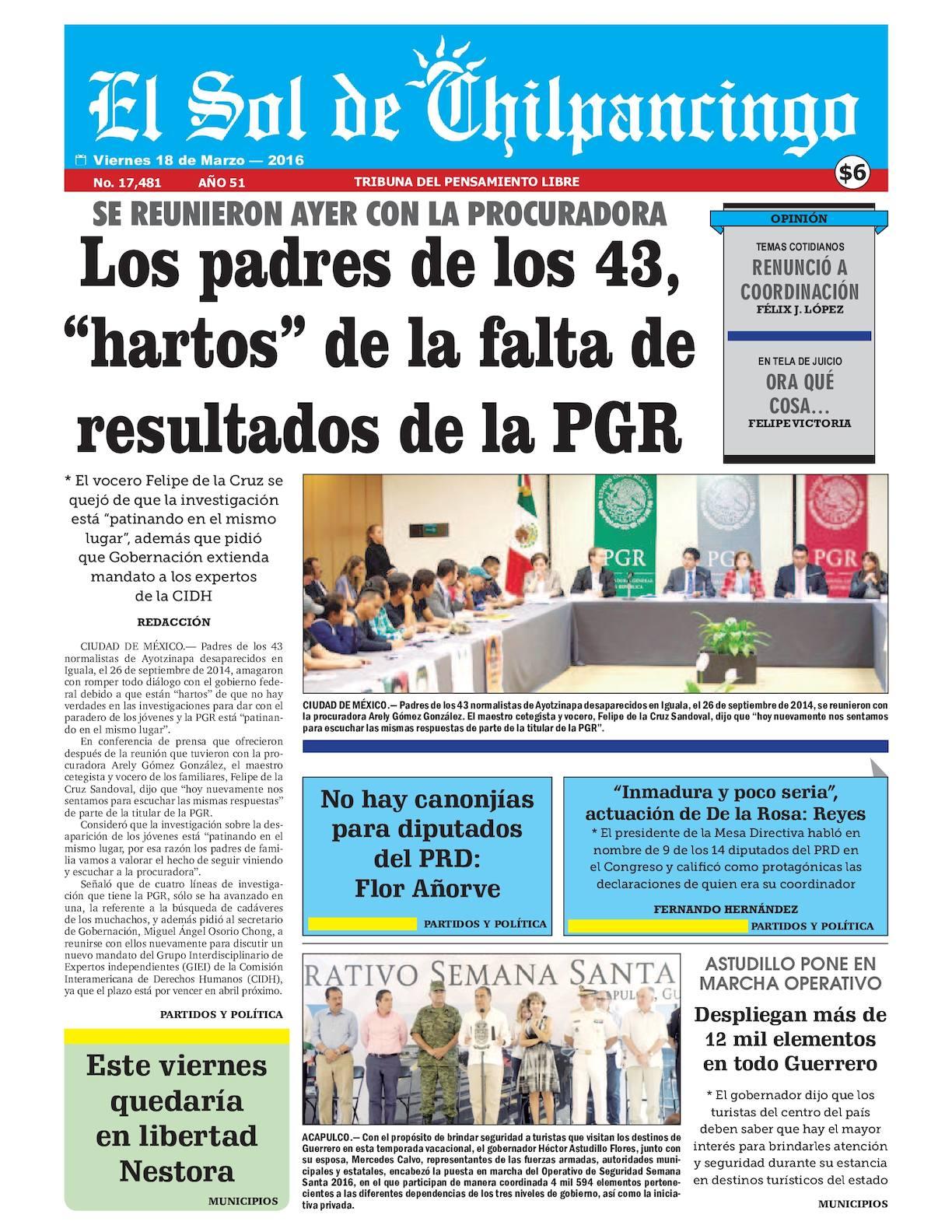Calaméo - El Sol De Chilpancingo 18 Marzo 2016