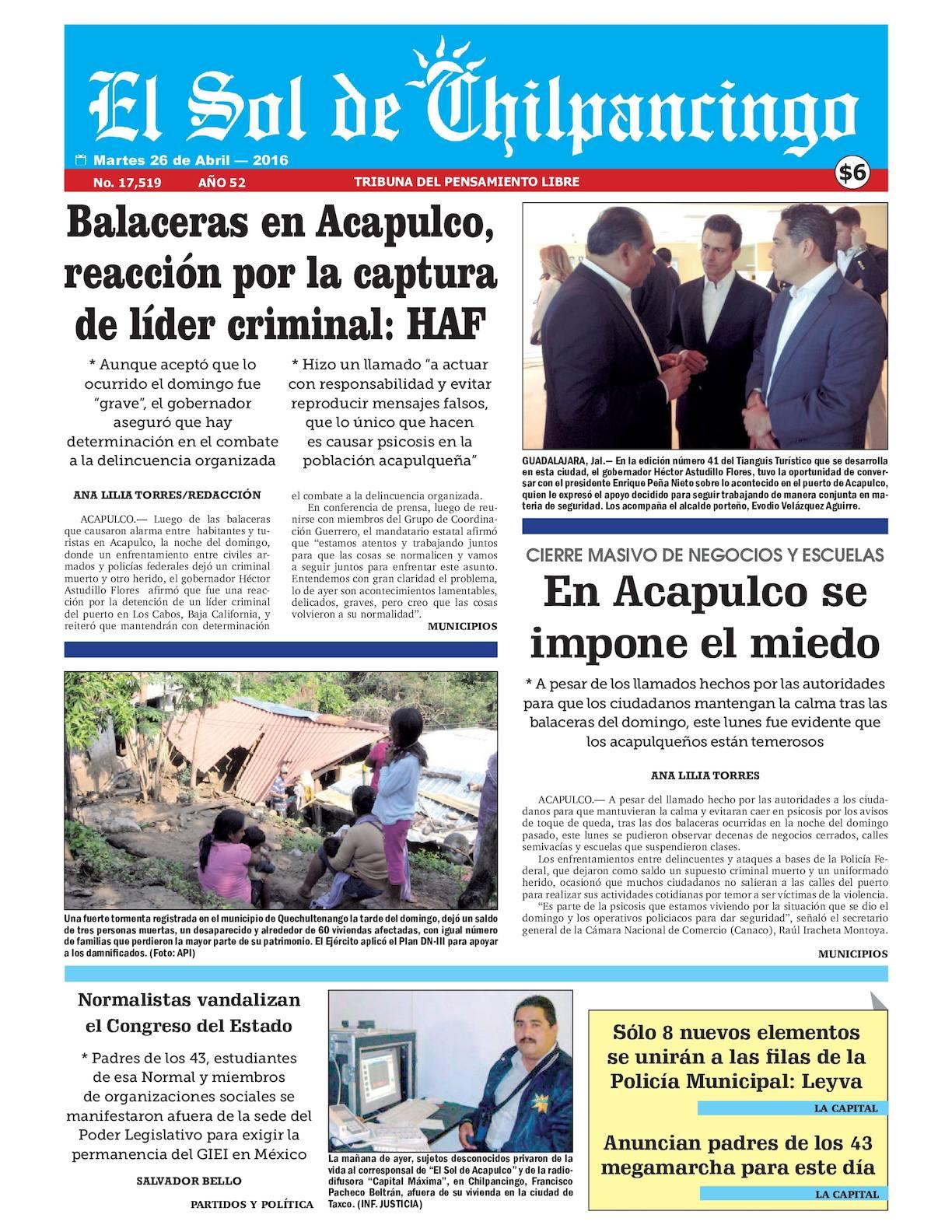 Calaméo - El Sol De Chilpancingo 26 Abril 2016