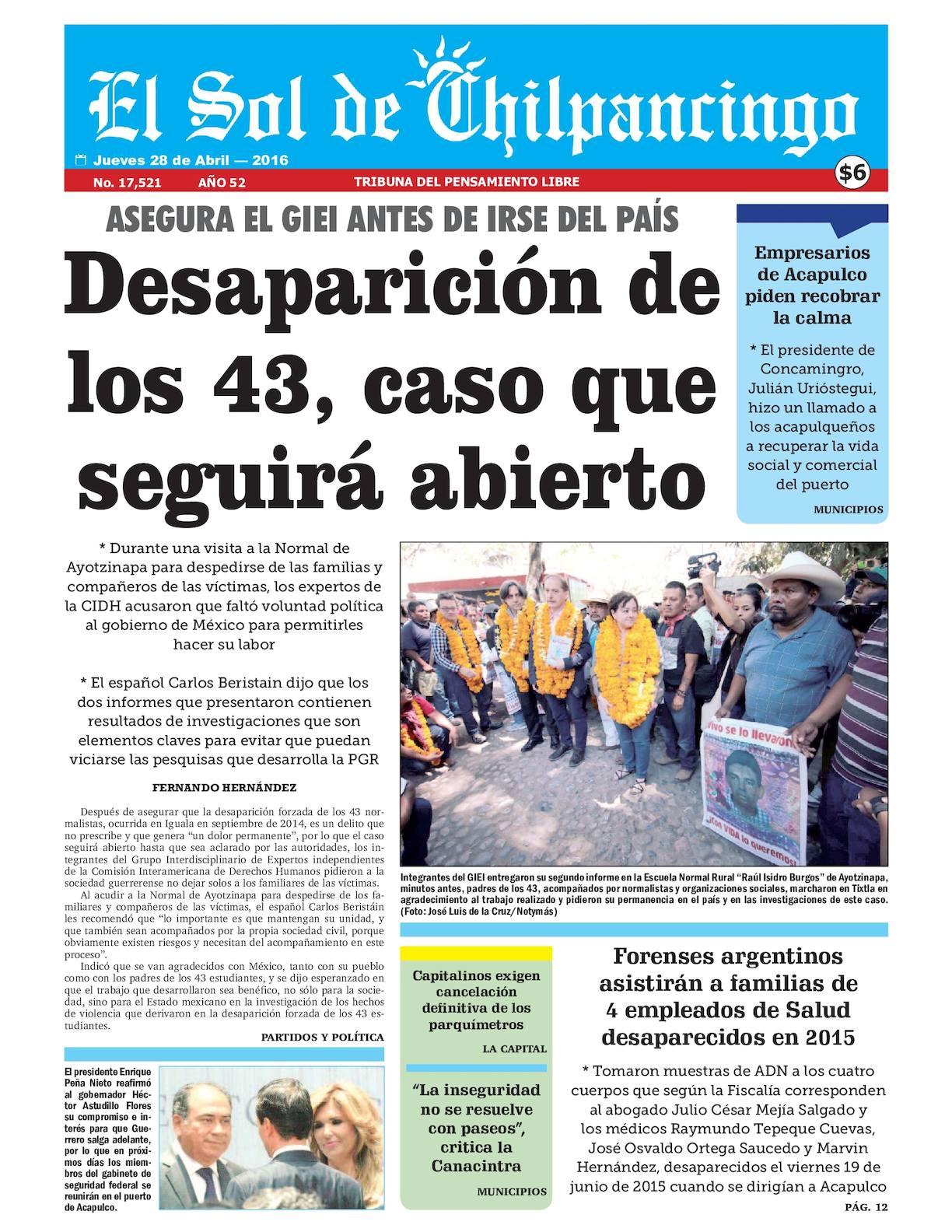 Calaméo - El Sol De Chilpancingo 28 Abril 2016 9ad6a48169b12