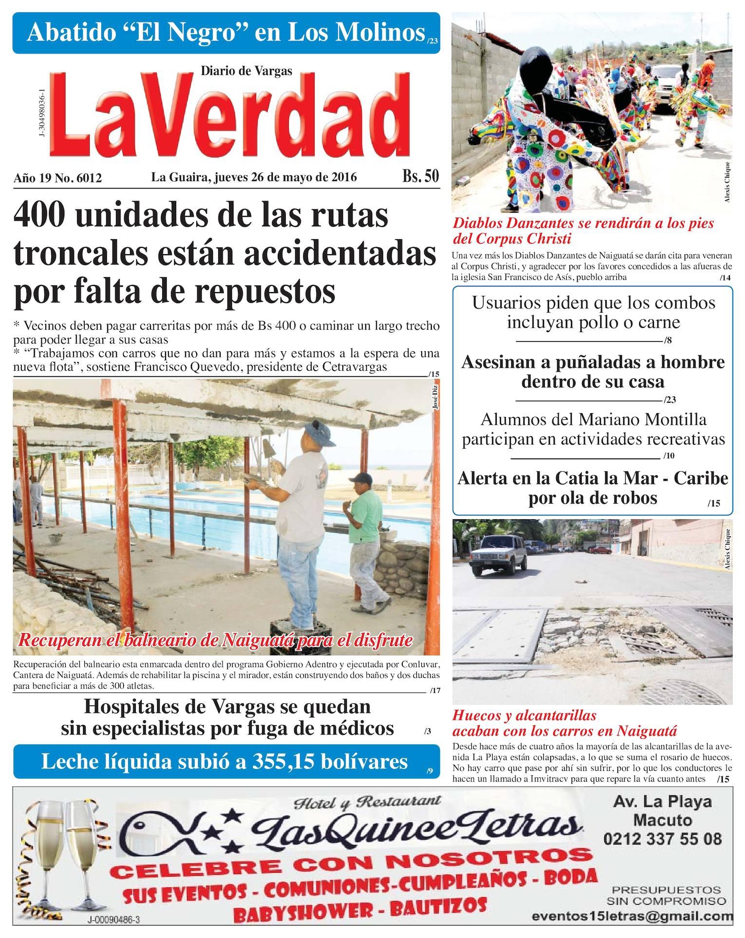 Calaméo - La Guaira, jueves 26 de mayo de 2016 Año 19 Nº.6012 - photo#37