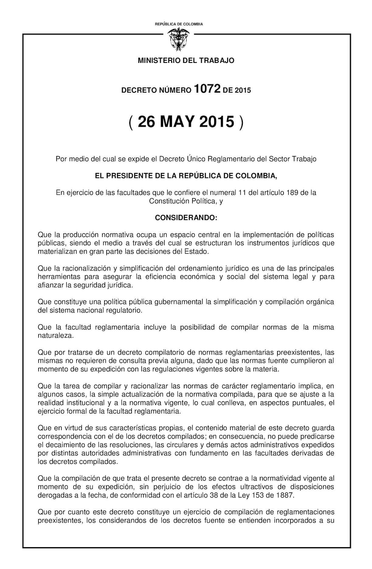 Calaméo - Decreto 1072 De 2015 Unico Reglamentario Del Sector Trabajo