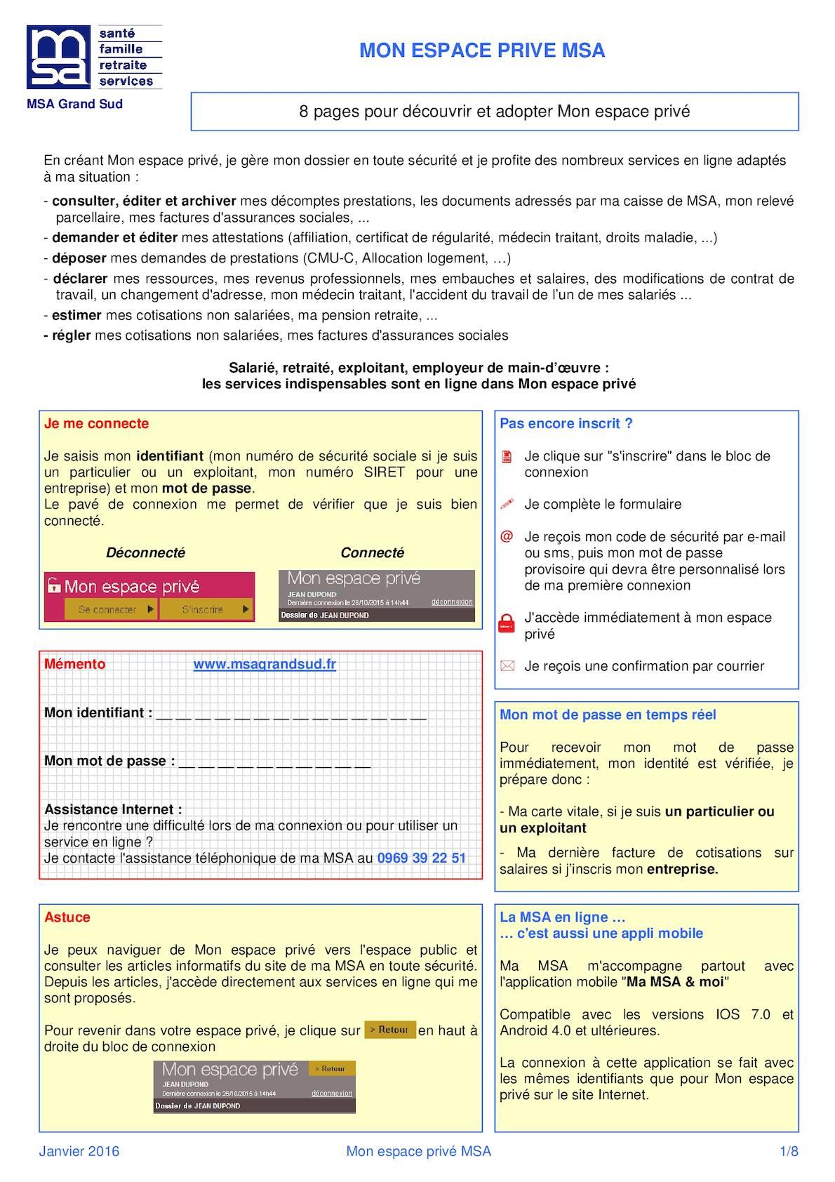 Carte Assurance Maladie Msa.Calameo Mon Espace Prive Msa Version 01 2016