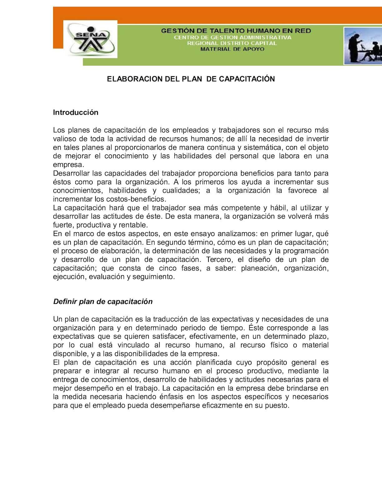 1 Elaboracion Del Plan De Capacitacion