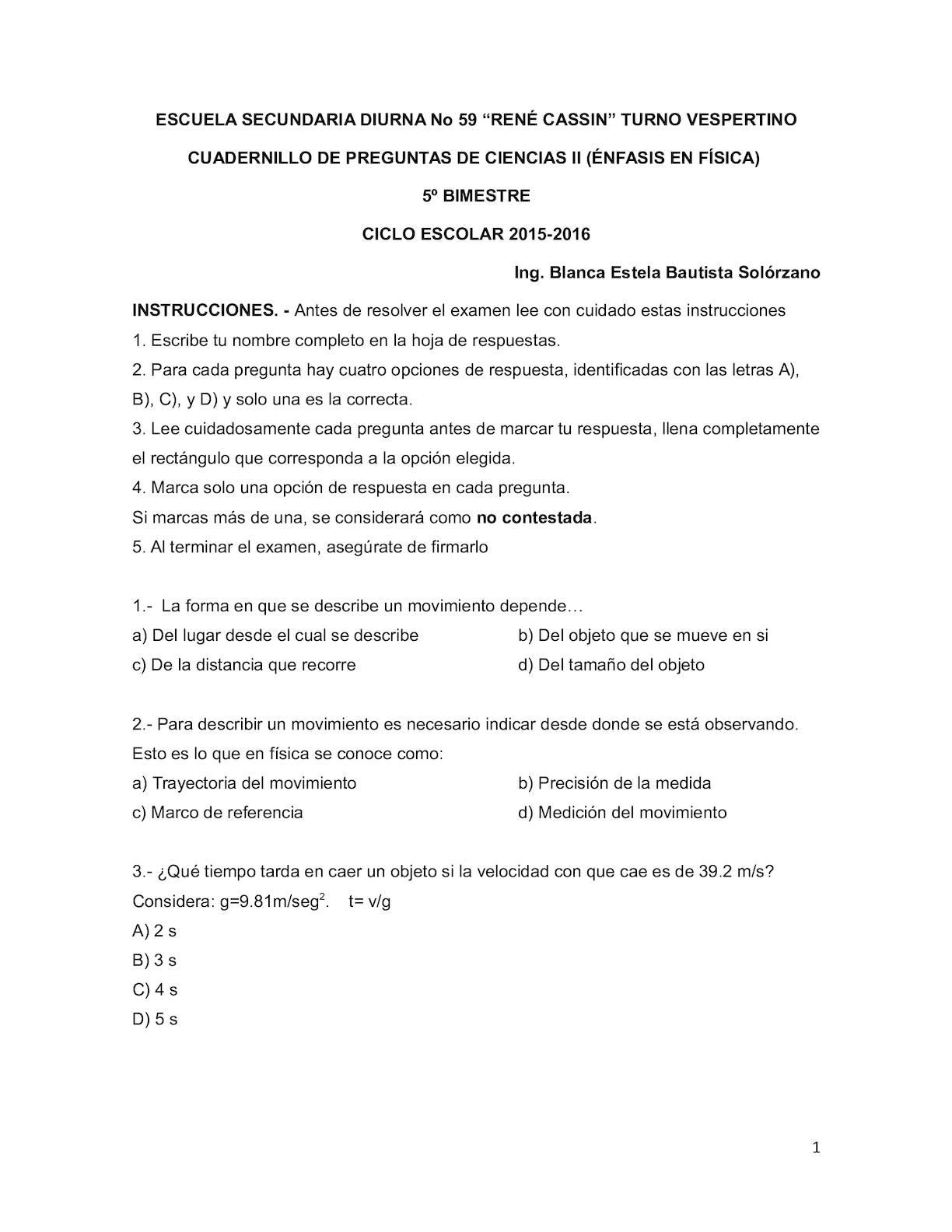 Examen Final Ciencias II