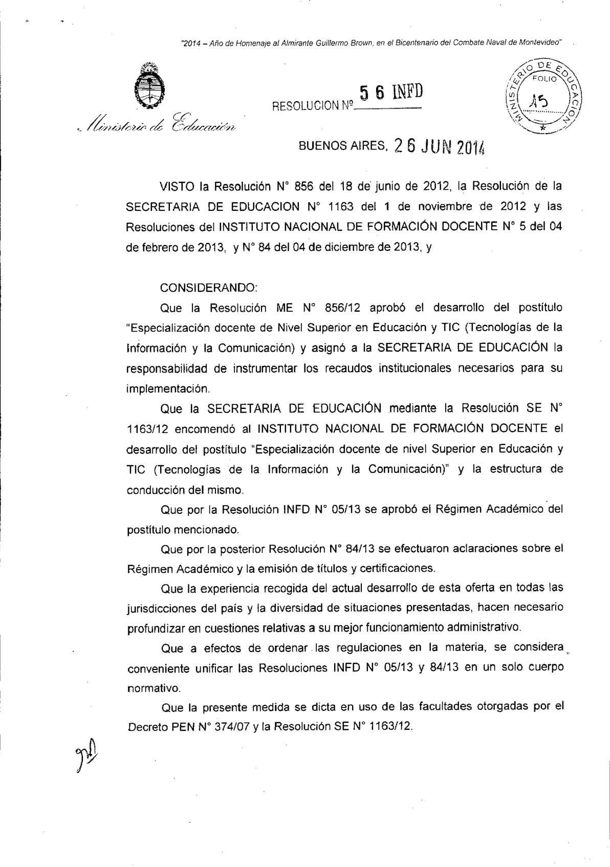Resolucion Regimen Academico 56 14