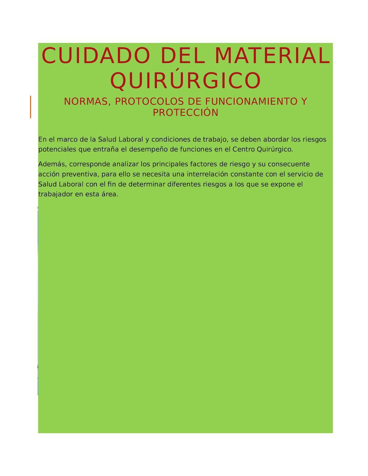 Circuito Quirurgico : Calaméo cuidado del material quirúrgico