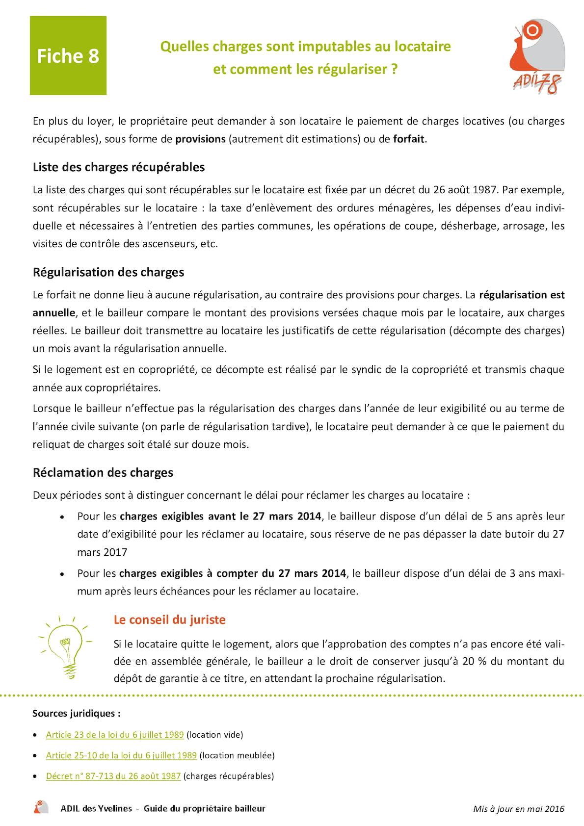 Calaméo - Fiche 8_Quelles Charges Sont Imputables Au Locataire, Et Comment  Les Régulariser ?