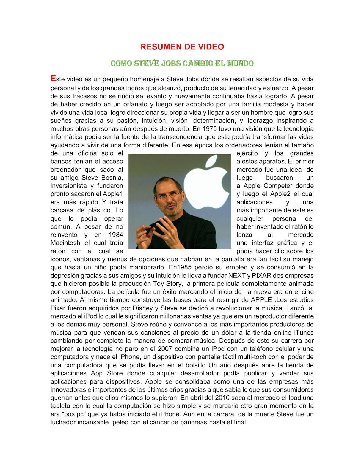 Calaméo - Resumen De Video Como Steve Jobs Cambio El Mundo Tutoria 3