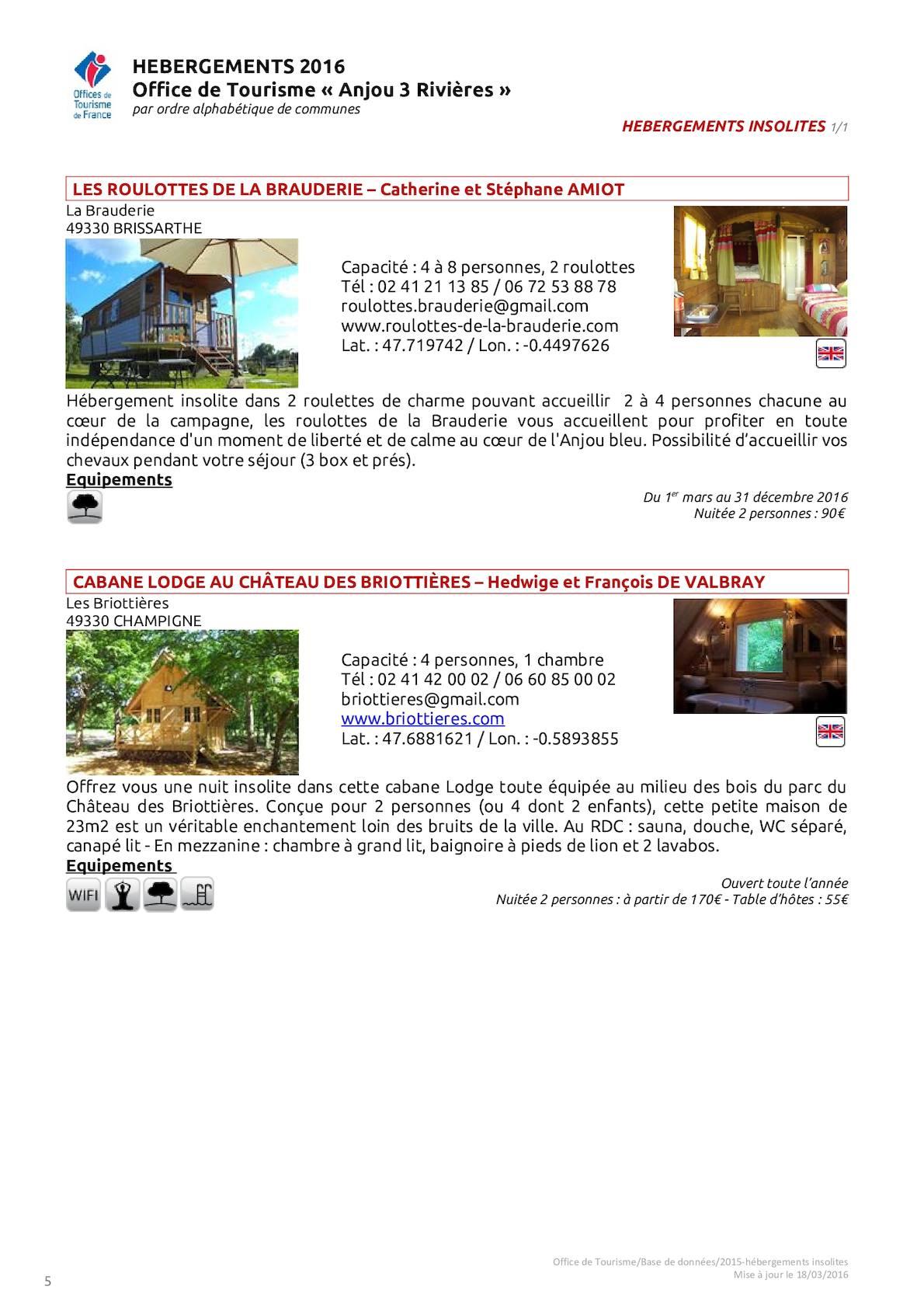 """2016 Hebergements Insolites Office de Tourisme """"Anjou 3 Rivières"""""""