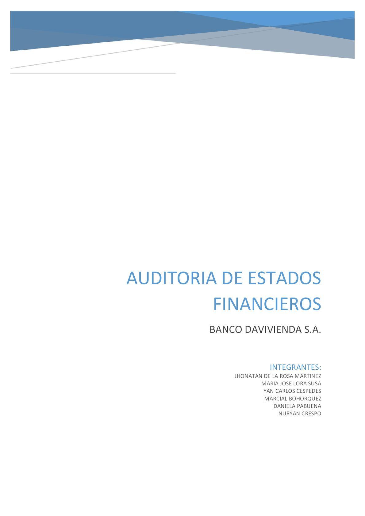 Auditoria De Estados Financieros Davivienda S A