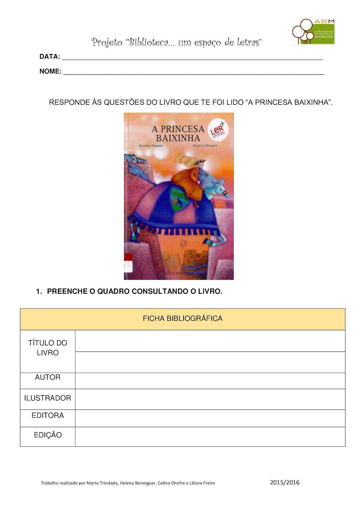 022 Projeto Biblioteca A Princesa Baixinha Caderno Atividades