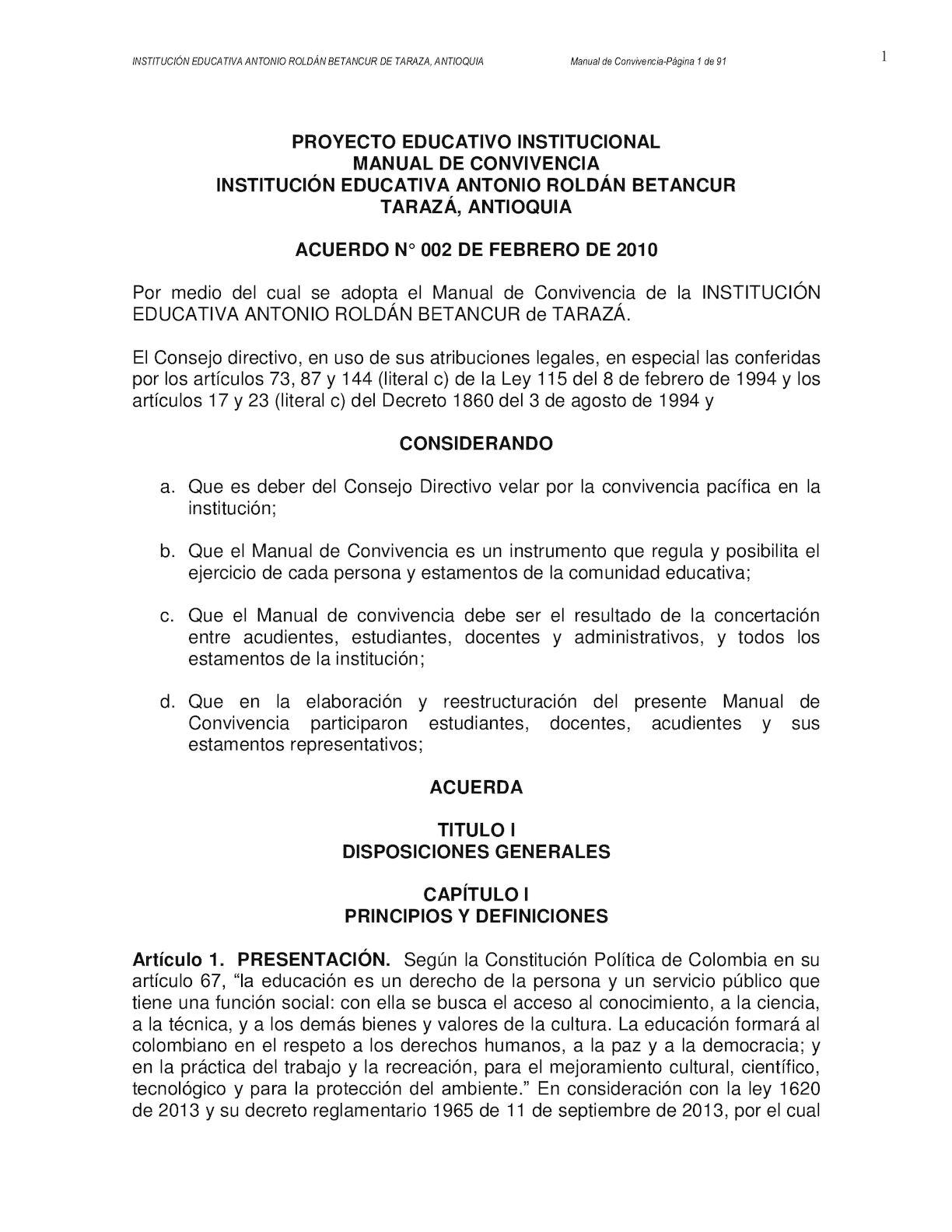 Manual De Convivencia 2016 INSTITUCIÓN EDUCATIVA ANTONIO ROLDÁN BETANCUR DE TARAZA, ANTIOQUIA