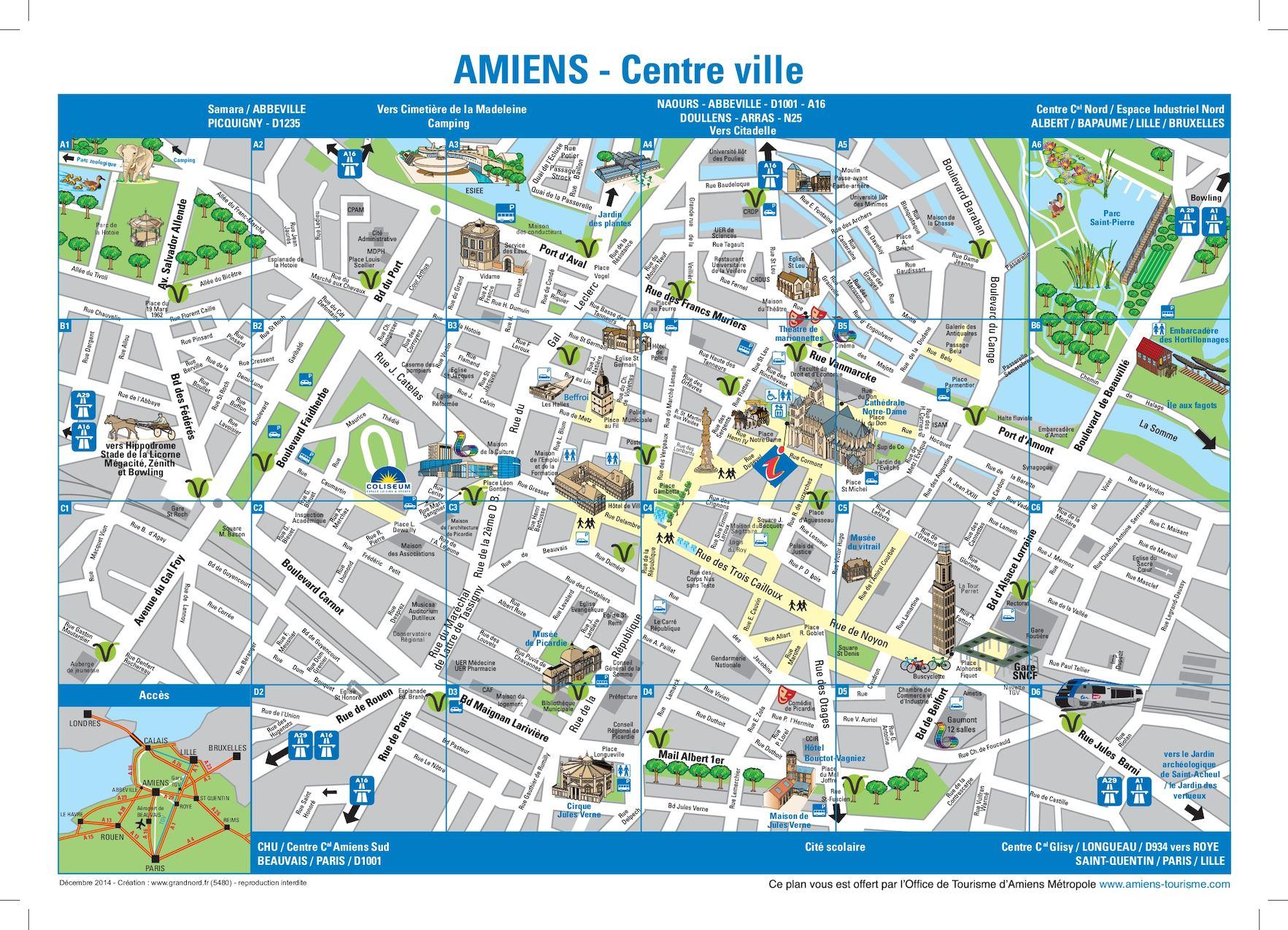 Calam o amiens city map centre - Office tourisme abbeville ...