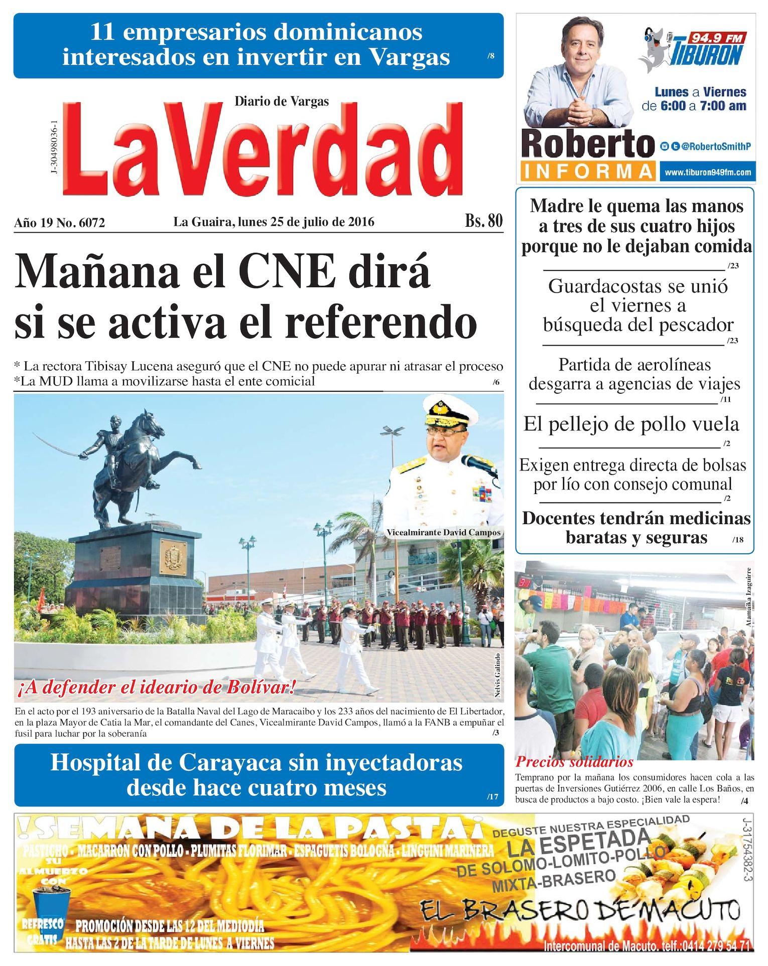 Calaméo - La Guaira, lunes 25 de julio de 2016 Año 19 Nº. 6072