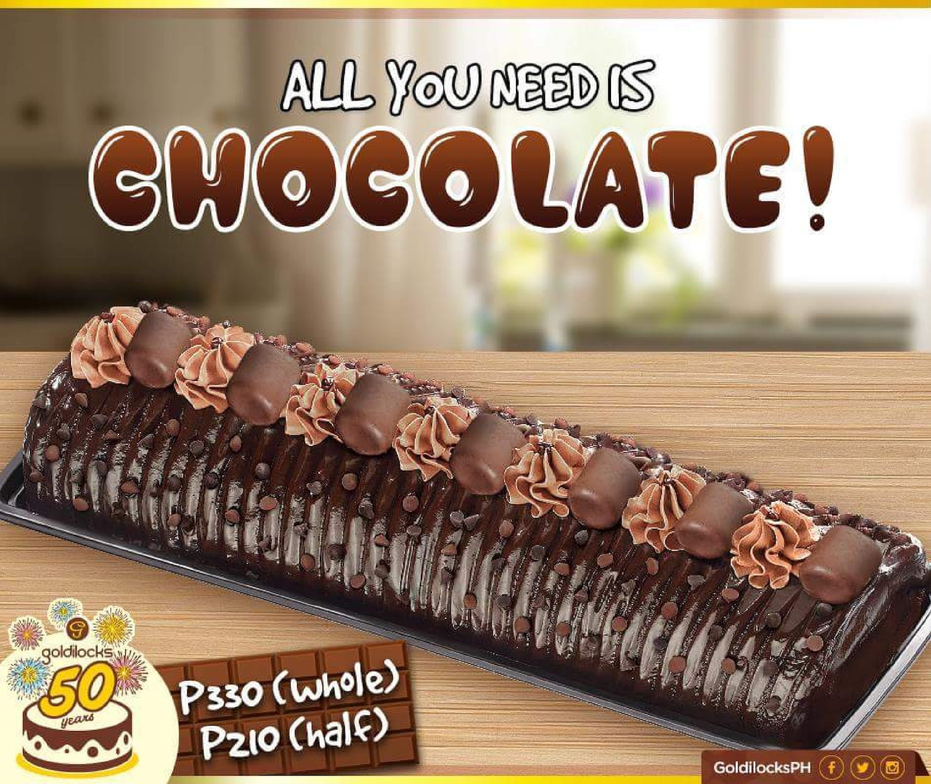 goldilocks half roll cake price