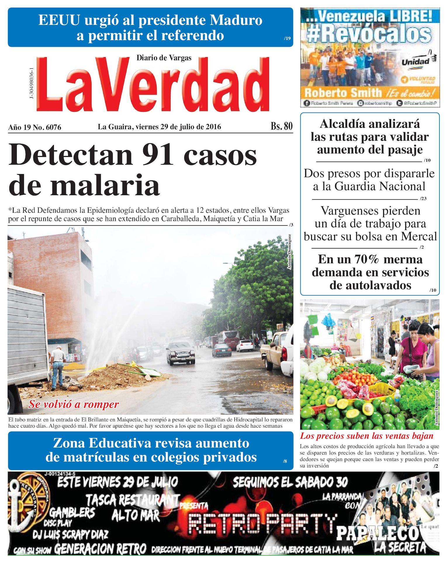 Calaméo - La Guaira, viernes 29 de julio de 2016 Año 19 Nº. 6076