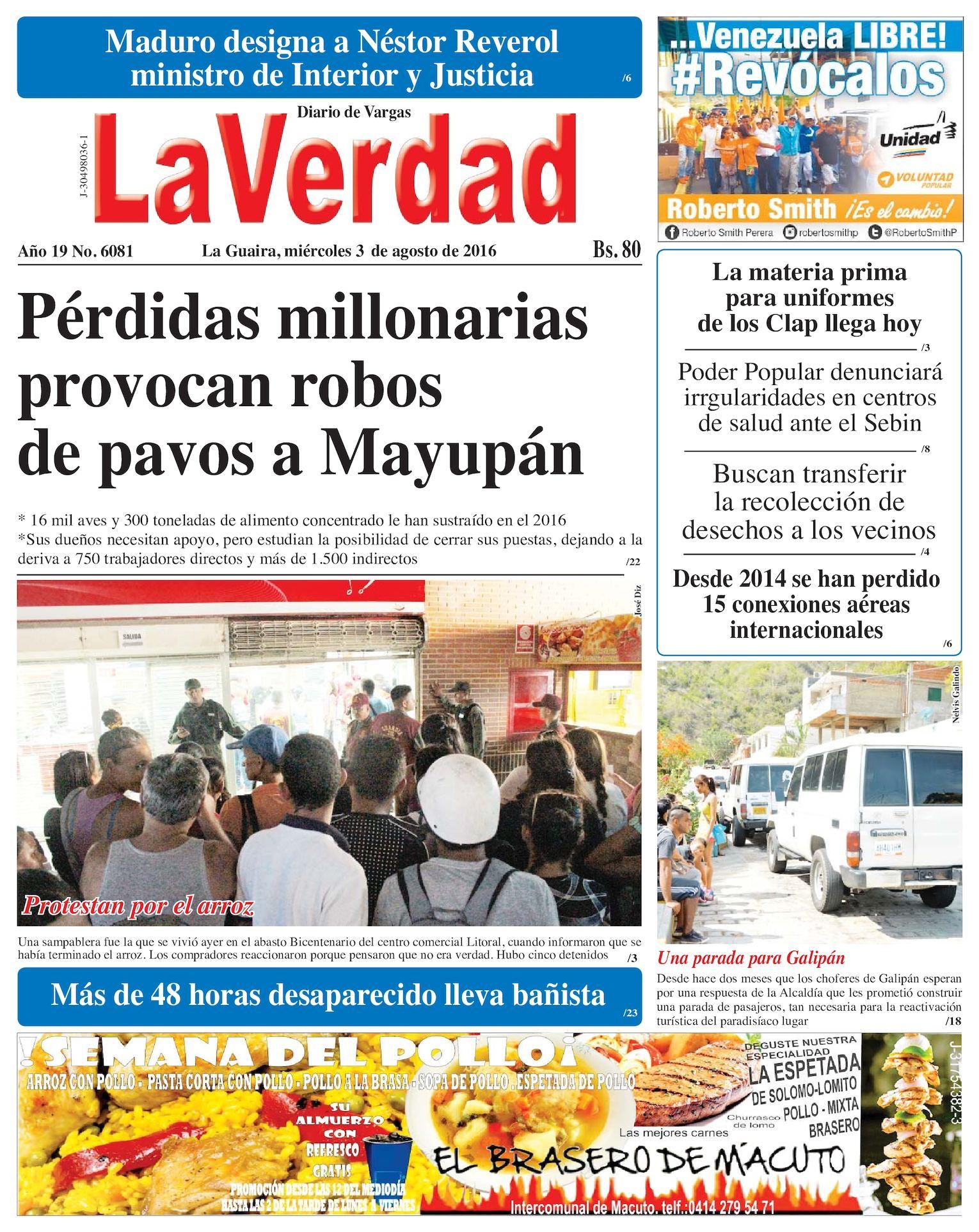 Calaméo - La Guaira, miercoles 03 de agosto de 2016 Año 19 Nº. 6081