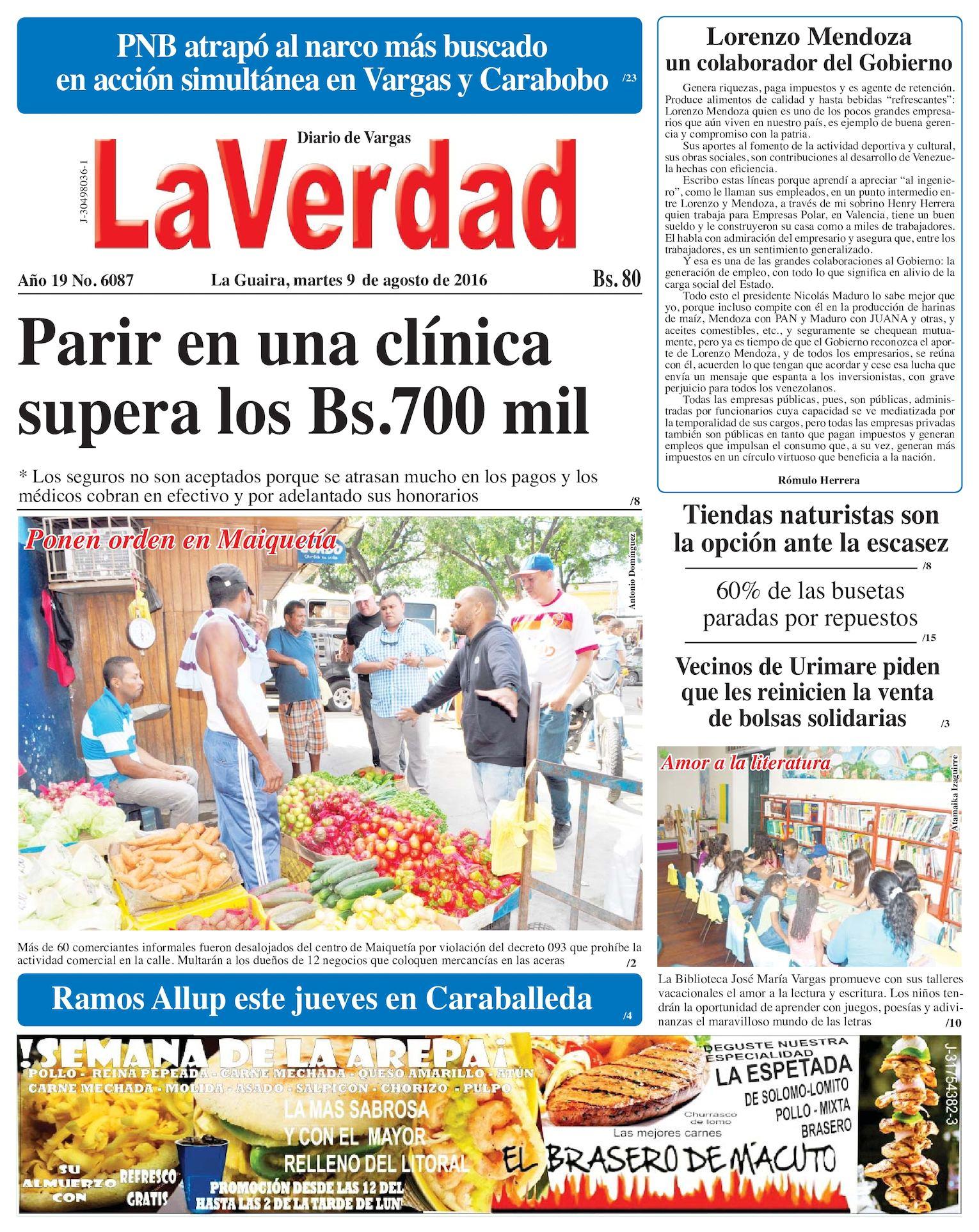 Calaméo - La Guaira, martes 9 de agosto de 2016 Año 19 Nº 6087