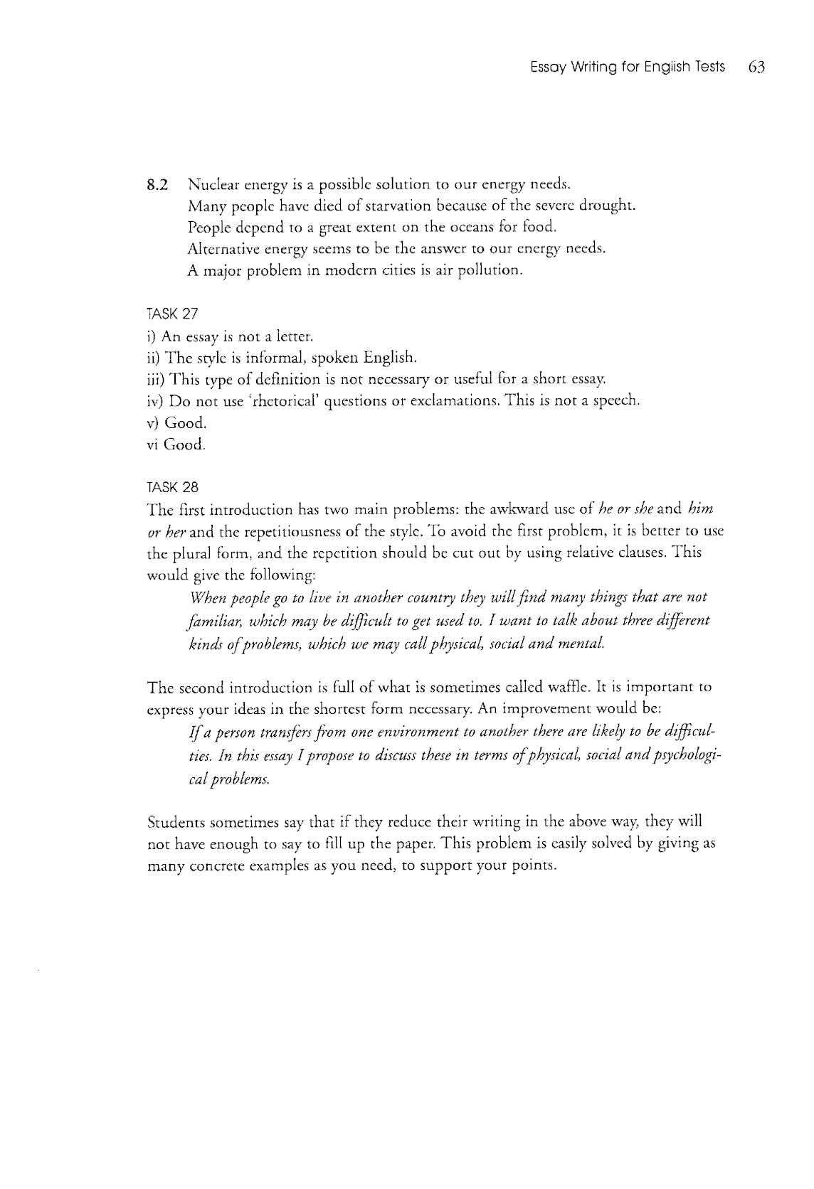 Essay writing for english test