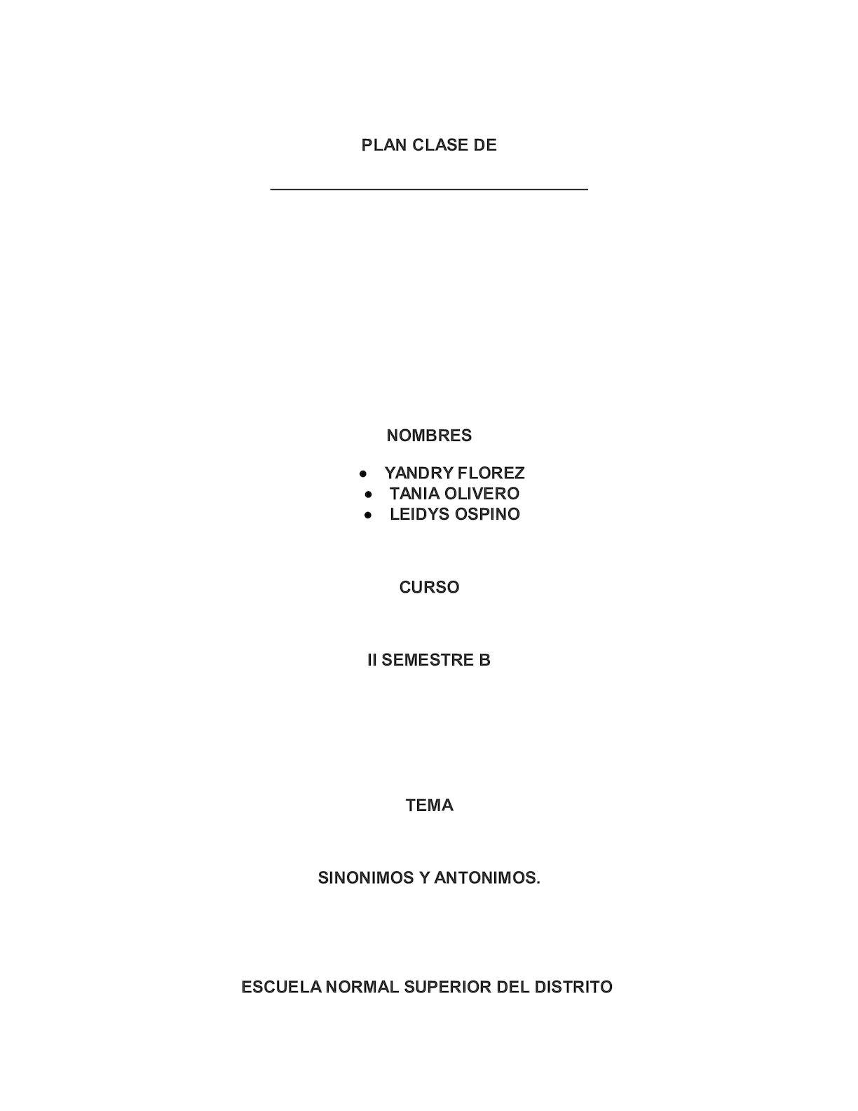 Calaméo - Plan Clase sinónimo y antonimo