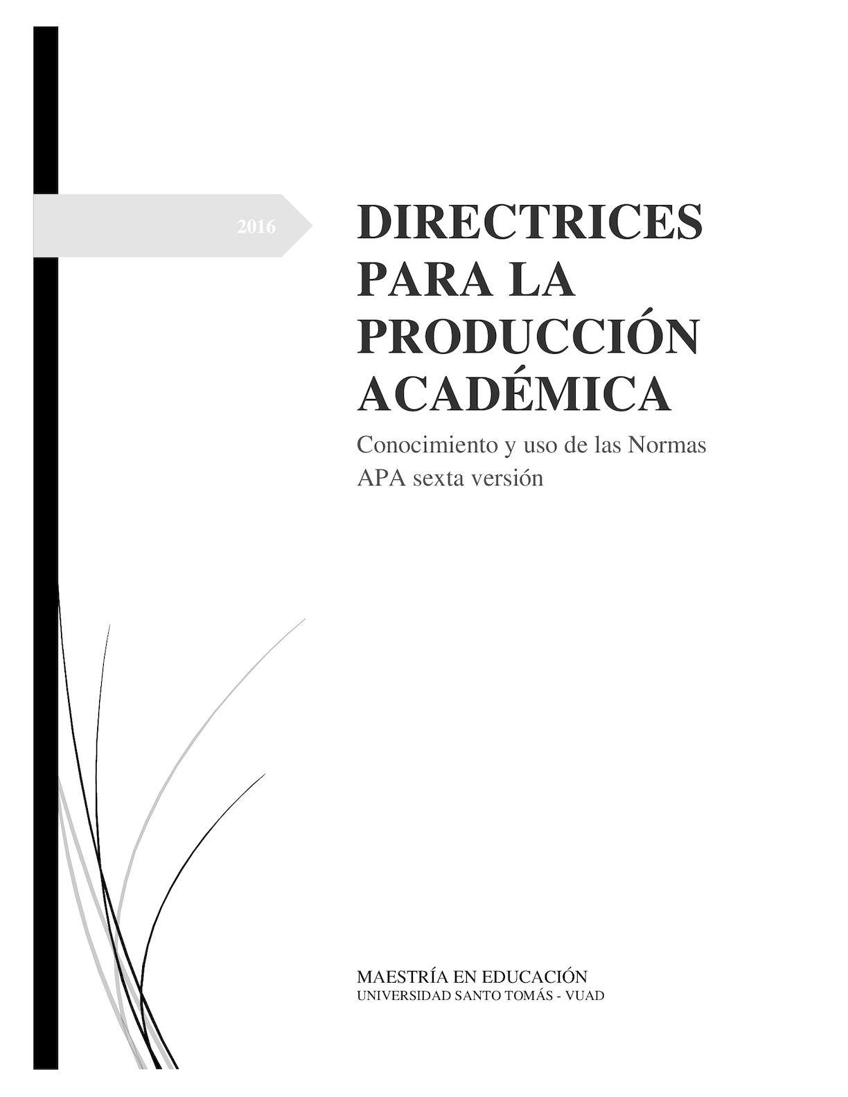 Directrices Para La Produccion Academica
