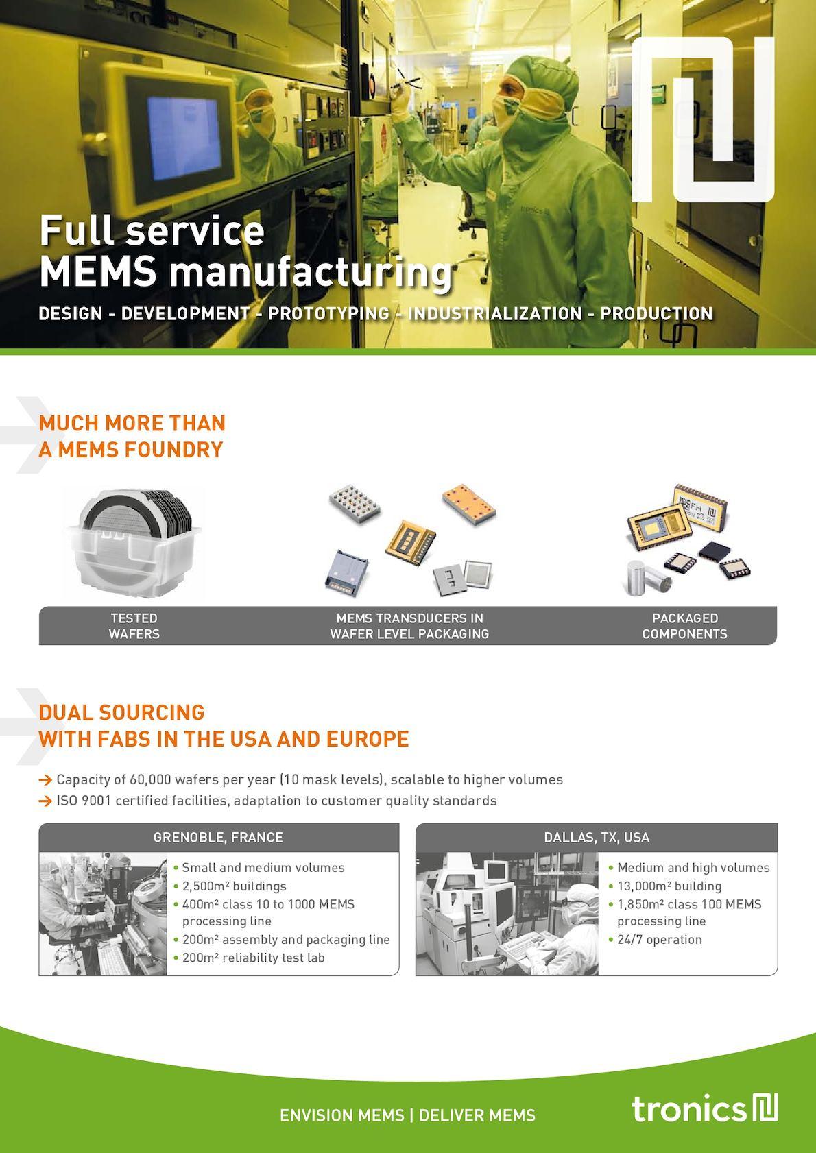 Tronics' Full Service MEMS Manufacturing