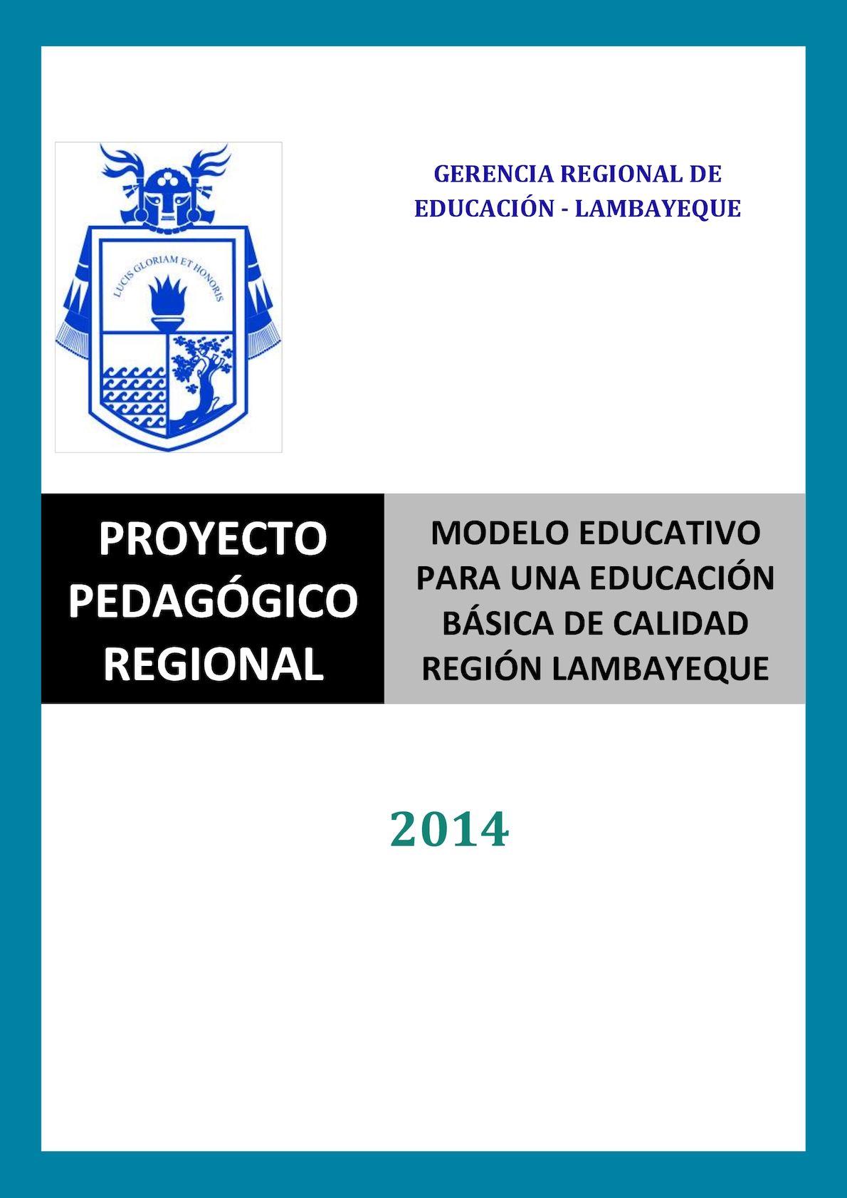 Calaméo - Proyecto Pedagogico Regional Lambayeque, 2014