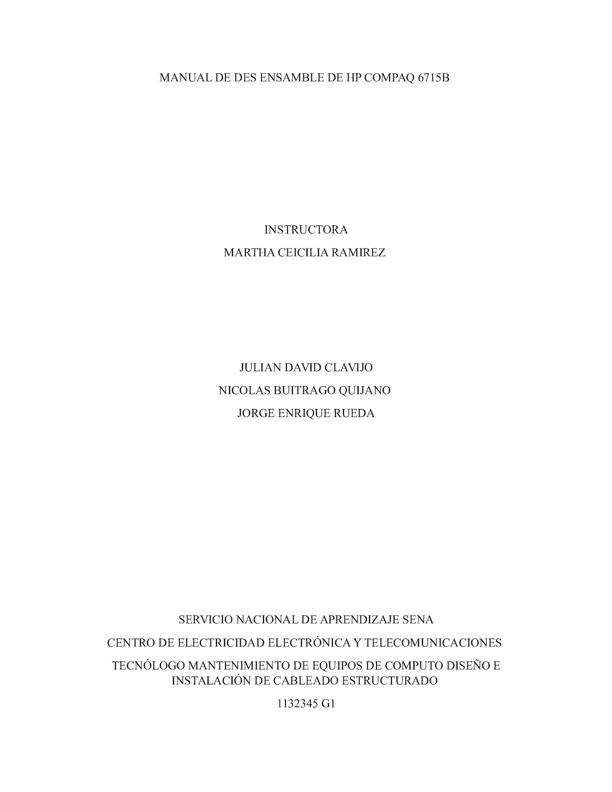 Manual Desensamble Por Jorge Rueda, Julian Clavijo, Nicolas Buitrago