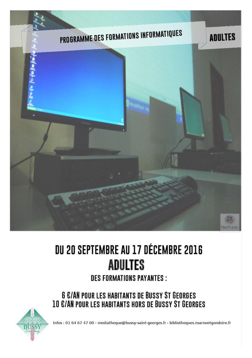 Livret des formations informatiques de Septembre à Décembre 2016