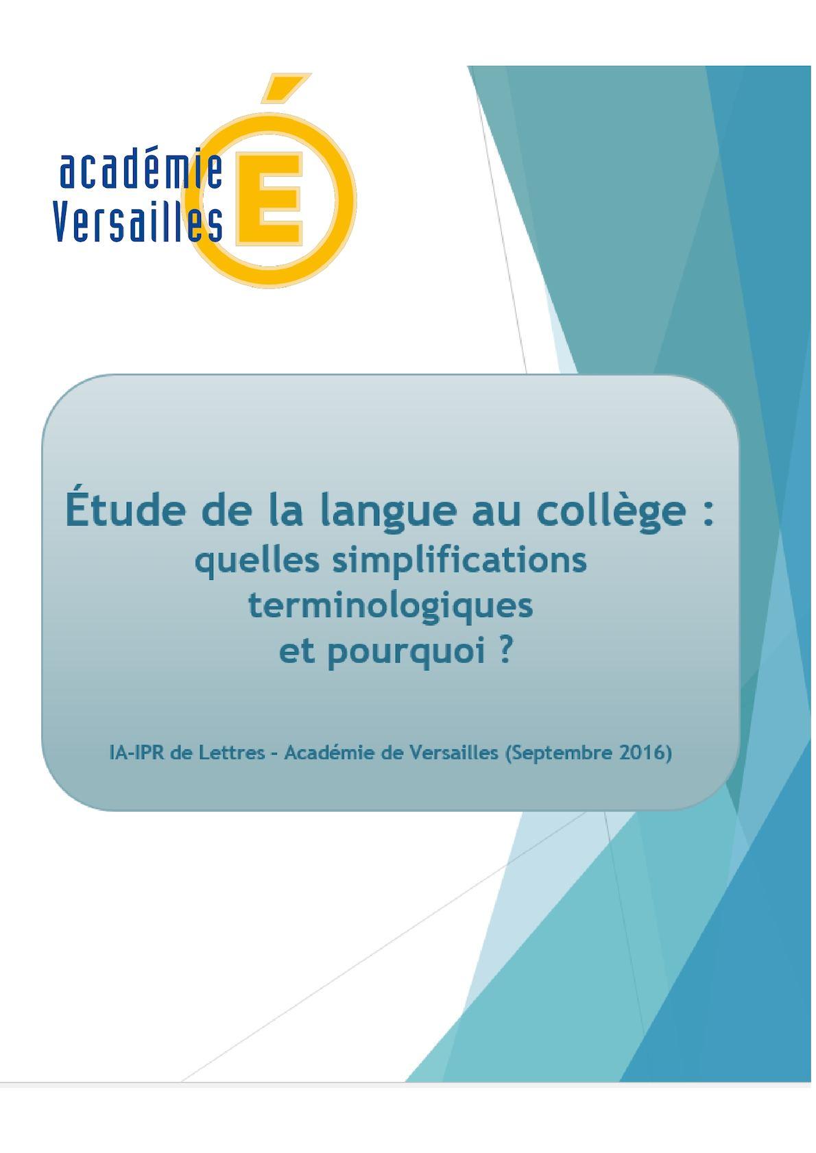 Etude De La Langue Simplifications Terminologiques