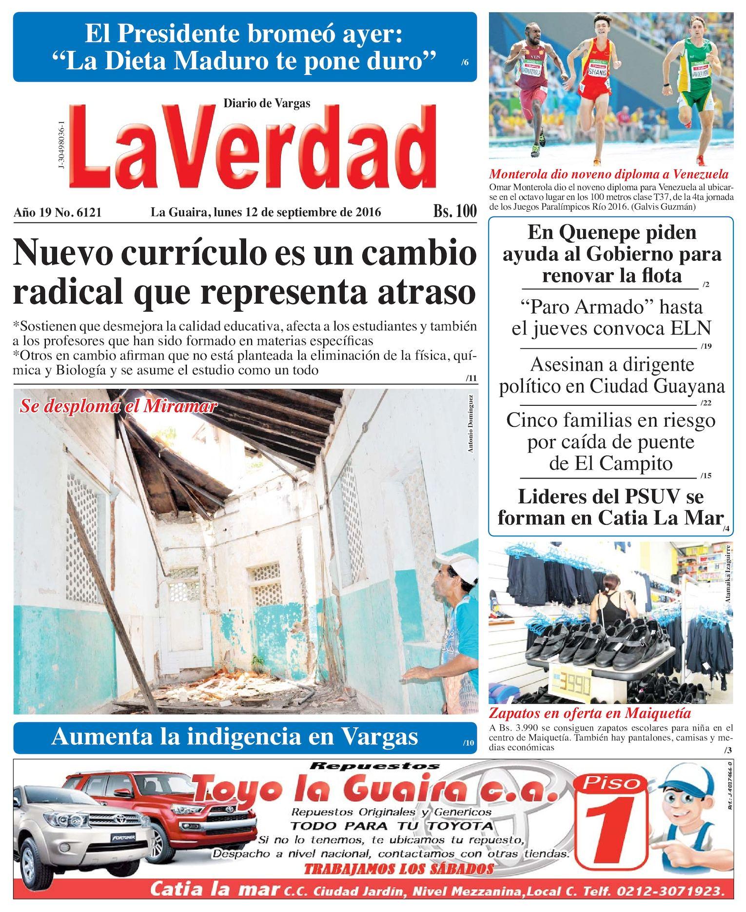 Calaméo - La Guaira, lunes 12 de septiembre de 2016 Año 19 Nº. 6121