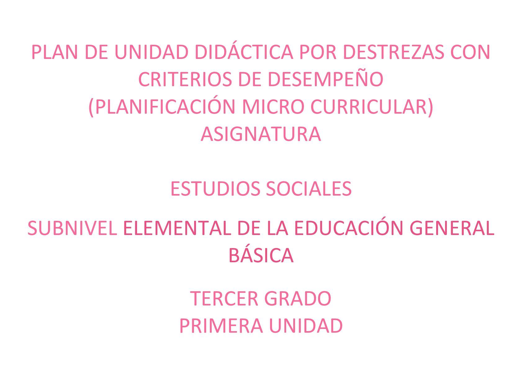 Plan Deunidad Didactica Es Tercero 2017