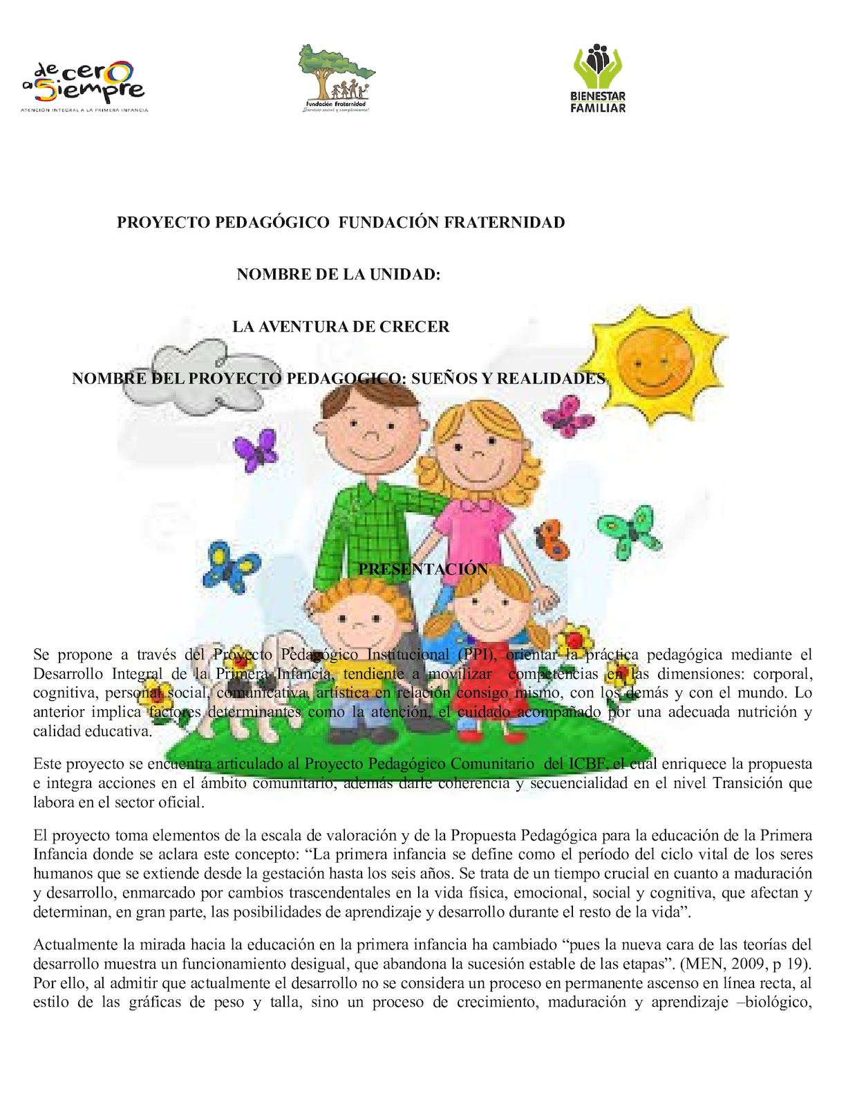 Proyecto Pedagogico Fundación Fraternidad 2016 (1) Maria
