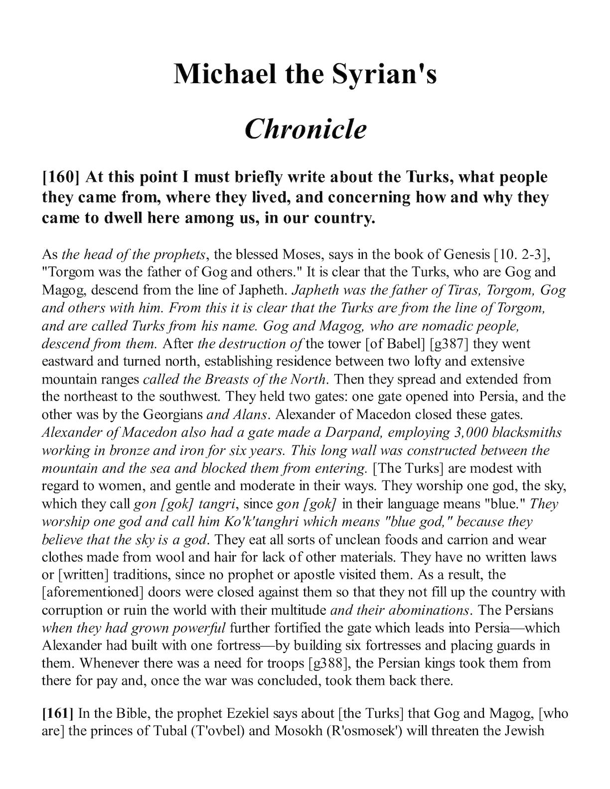 Chronicle of Michael the Great (Syrian) about the Magi of the Nativity 57