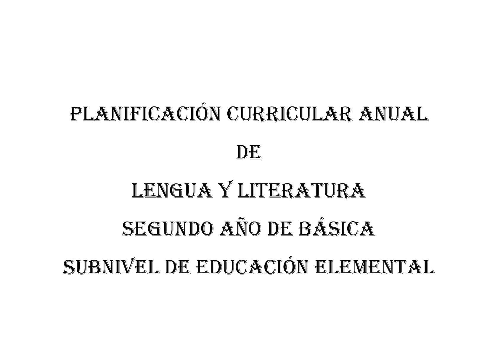 Pca Lengua Y Literatura Segundo 2017